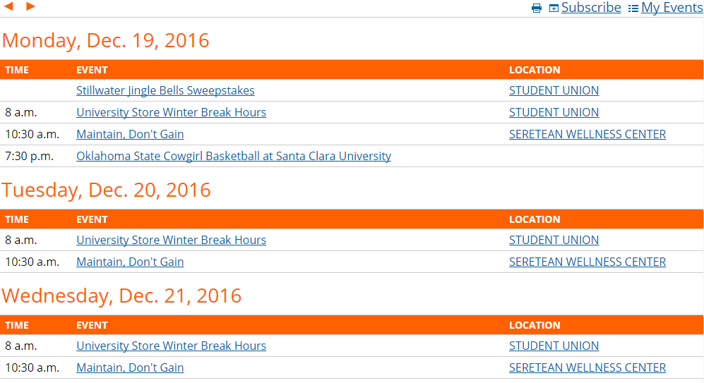 Screenshot of main calendar spud, inserted into page